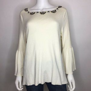 Charter Club Size XL Vintage Cream Embellished